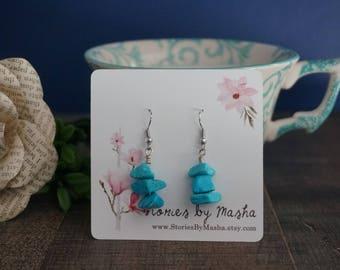 Turquoise bead drop down earrings