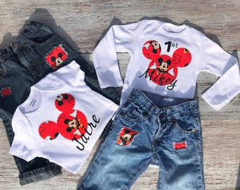 Mickey Mouse first birthday outfit, Mickey Mouse onesie, Mickey Mouse distressed blue jeans, Mickey Mouse, baby boys first Mickey outfit