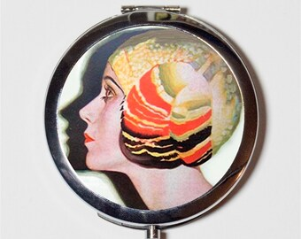 Flapper Profile Illustration Compact Mirror - Art Deco 1920's Jazz Age Roaring 20s - Make Up Pocket Mirror for Cosmetics