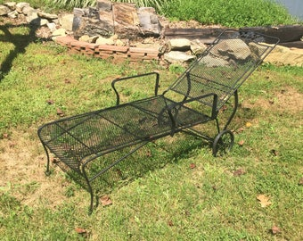 wrought iron patio furniture vintage. Fab Vintage Original Wrought Iron Woodard Flower Pattern Patio Chair Lounger Furniture
