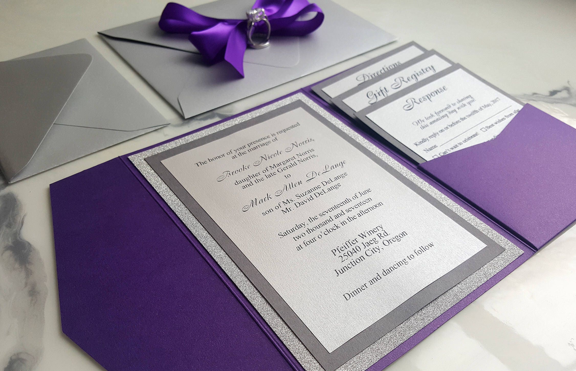 Purple silver wedding invitations metallic pocket fold zoom junglespirit Images