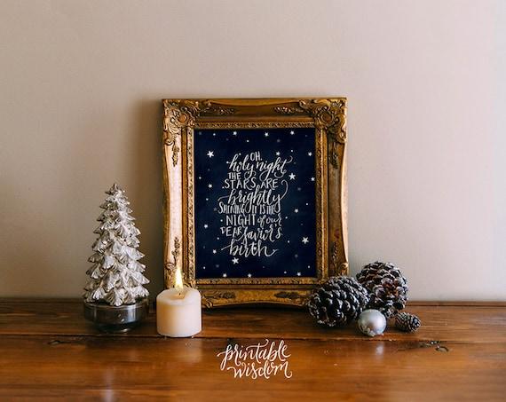 Items similar to Oh Holy Night Christmas printable wisdom holiday decoration, wall art decor ...