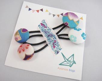 Japanese ponytail holders, set of 2, Button ponytail holders, Blue flower, ph7
