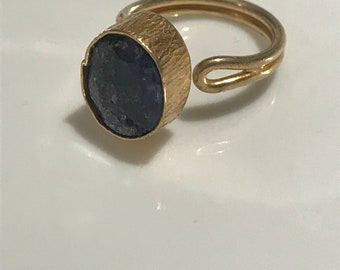 Turkish Handmade Gold Plated, Sterling Silver, Sax Blue Quartz Gemstone Ring