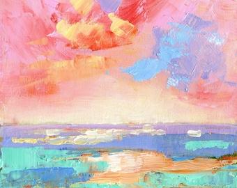"Original Abstract Oil Painting. ""Seascape at Sunset"" Wall Decor. Ocean Housewarming Gift. Original Painting. Oil Painting. Coastal Wall Art."