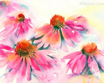 Original flower painting, Pink Echinacea, floral watercolour, watercolor painting, pink flower painting, loose watercolour, vibrant floral