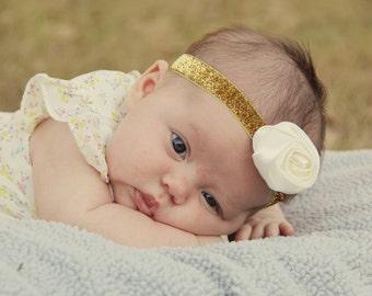 Glitter Gold Headband - Gold Sparkle Headband - Newborn Glitter Headband Photo Prop - Baby Glitter Headband - Ivory Rose Headband for Girls