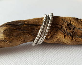 Spirited Stacking Silver Ring Set