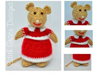 Knitted Mice, Toy Knitting Pattern, Animal Knitting Pattern, Mouse Knitting Pattern, Doll Knitting Pattern, Knit Doll, Amigurumi Rag Doll