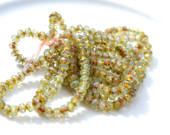 Light Olive Green Picasso 5x3mm Faceted Rondelle Czech Glass Beads  30