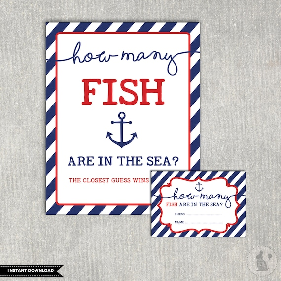 Guess How Many Fish Are In The Sea Printable. Nautical Baby