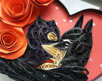Quilled Paper Art/ Batman Catwoman Kiss/ DC COMICS/ Couples Gifts/ Gifts for him/ Selina Kyla Kiss/ Comic book art/ Quilling/ Wedding gifts