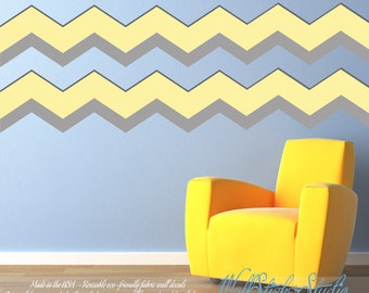 Chevron Wall Decals, Chevron Fabric Decal, REUSABLE Nontoxic Decal, 111