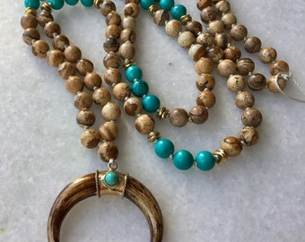 Double Horn Necklace | Crescent Moon Necklace | Boho Horn Necklace | Turquoise and Picture Jasper Necklace | Hand Knotted Long Necklace
