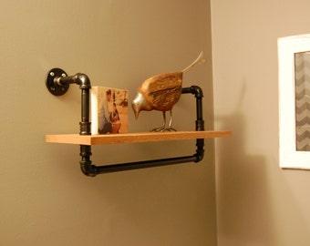 Industrial Shelf - Pipe Shelf, Wood Shelf