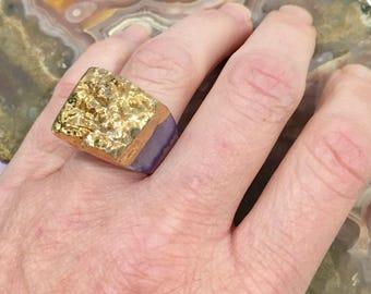 Dara Ettinger JILL Druzy Ring in Purple/Gold sz 6