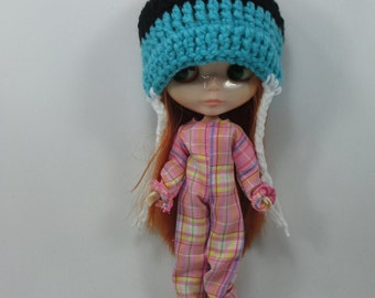 Handcrafted fancy scotch overall and hat outfit for Blythe doll 400-3