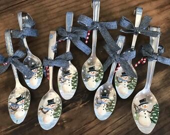 Rustic Spoon Snowman Ornament