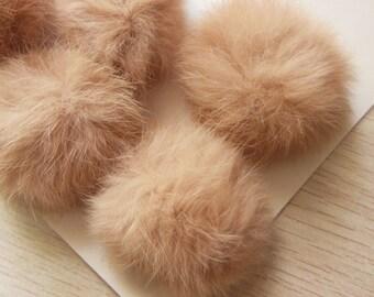 3pcs 6cm Tan Real Rabbit Fur Ball Rabbit Fur Pom Poms
