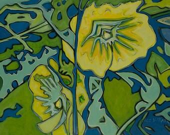 Hollyhock # 2, hollyhock paintings prints, abstract paintings, floral paintings, floral prints, contemporary modern art paintings