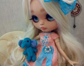 """Blythe dress knitted """"Turquoise and Peach"""" hair decoration"""