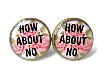 How about NO. Earrings - Floral Pop Culture Soft Grunge Pastel Goth Jewelry