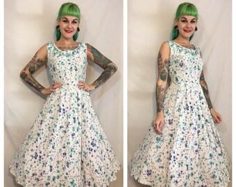 Vintage 1950's Blue Floral Dress