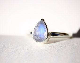 Blue Moon - Moonstone Teardrop Sterling Silver Ring