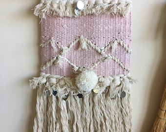 Shaggy Pink Handmade/Handwoven Wall Weaving / Nursery / Wall Art / Fiber Art