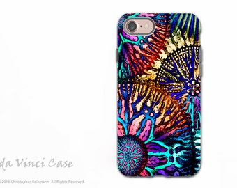 Artistic iPhone 7 and iPhone 8 Tough Case - Colorful Coral Abstract Art Case with Dual Layer Protection - Cosmic Star Coral