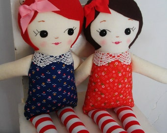 TWIN CLASSIC RAGDOLLS - Twin dolls, gift for twins, plush toys Heirloom Dolls - Made To Order