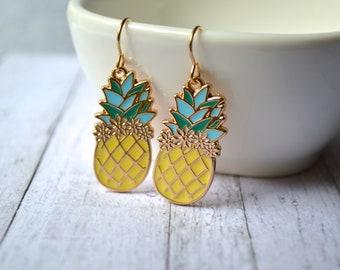 Yellow pineapple earrings, metal earrings, pineapple earrings, tropical fruit earrings, gift for her under 20 dollar, summer earrings, boho.