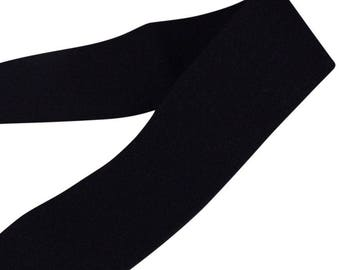 Black Plush Strap or Waistband Elastic - 1 3/8 inch (E32B8S)