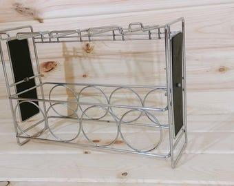 Vintage Chrome and Black Wine Rack and Wine Glasses Rack