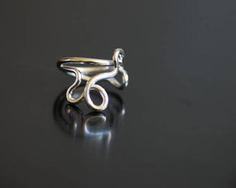 Wearable Art Ring, Sterling Silver, Abstract Art Jewelry, Squiggle Ring, Infinity Ring