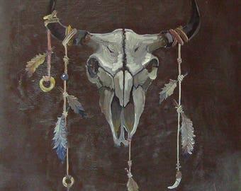 Amulet of the shaman. Buffalo skull. Original oil painting on panel (plywood). 70 x 76cm