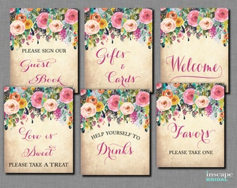 6-Table Signs Package Printable, Floral Bridal Shower Table Signs, Shabby Chic, Garden Flower Bridal Shower Decor, Welcome Sign, Drinks Sign