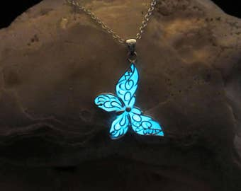 Butterfly necklace glow in the dark