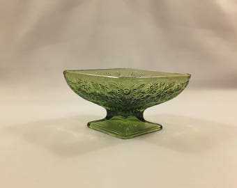 Vintage Green Glass Candy Dish, Diamond Shape