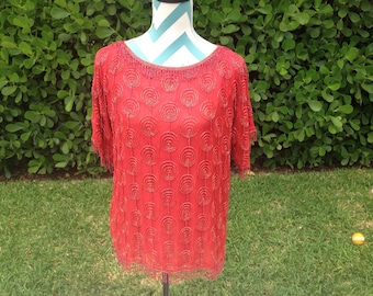 Vintage Beaded Top Red with Bead Fringe - 1980s Medium Silk Blouse