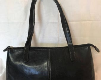 Classic Black Leather Look Purse, By Sonoma, Tan Stiching, Double Straps, Zipper Closure, Beautiful Black Handbag, 13 x 7 x 4