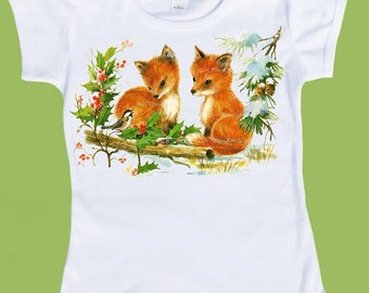 Fox pups, Woodland Fox T-Shirt, Winter Foxes One Piece Baby,Red Fox Back to School shirt, Woodland Birthday Party by ChiTownBoutique.etsy