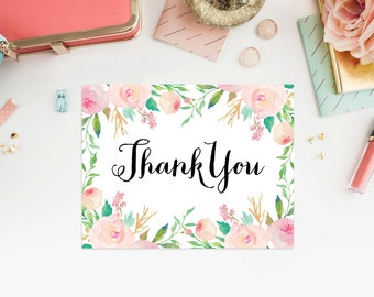 Instant Download - Spring Showers Thank You Folded Note Card