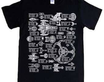 STAR TREK SHIPS - S - 5XL T-shirt - Starfleet, Klingon, Vulcan, Romulan, Borg, Dominion, Cardassion, Breen
