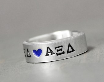 Alpha Xi Delta Ring, Sorority Ring, Alpha Xi Delta Jewelry, Hand Stamped Ring, Personal Sorority