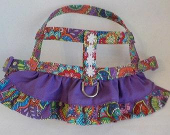 Dog Harness - Dog Clothes - Custom Dog Harness -Purple Butterflies Ruffle - Dog Apparel -  Dog Dress - Small Dog Harness
