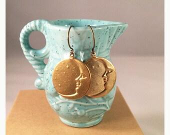 Gypsy moon goddess golden brass earrings. Golden moon face and stars earrings. Boho brass moon earrings.  Celestial wicca brass earrings.