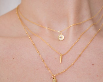 Bullet -necklace (bullet fang shark tooth charm necklace satellite chain)