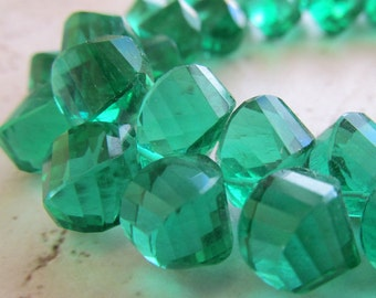 Shamrock Green Quartz Faceted Twist Teardrop Beads 10 X 8mm - 8 inch Strand