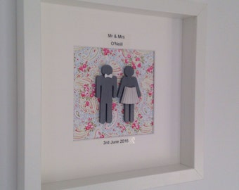 Silhouette bride & groom, Wedding date, or Wedding anniversary, Wedding date, happy couple, mr and mrs, Framed wedding gift